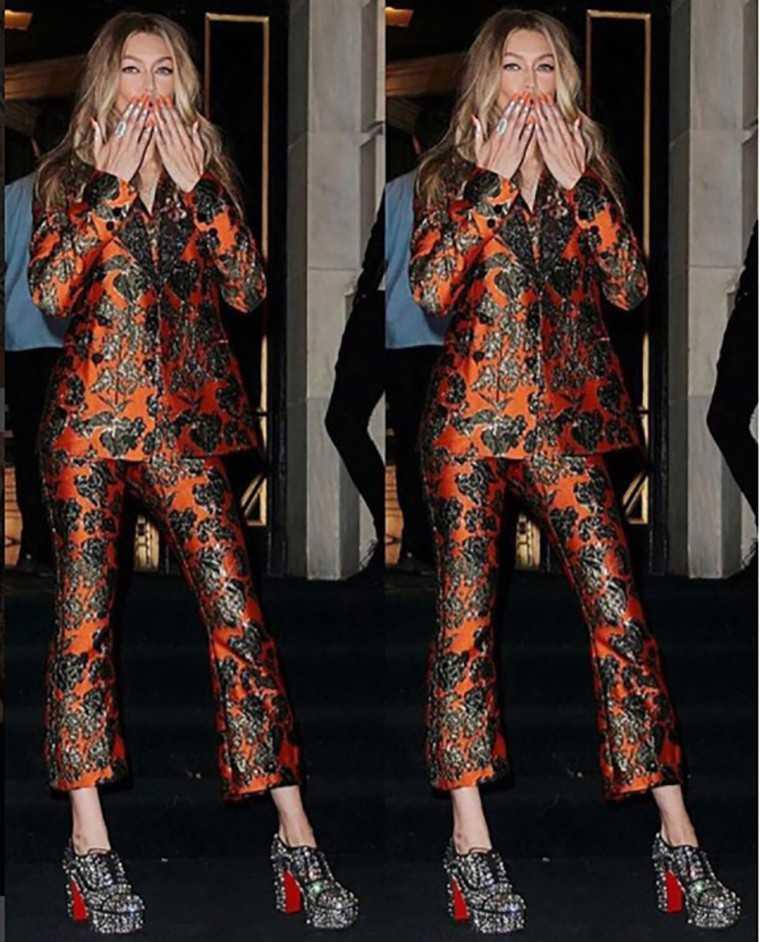 Gigi Hadid's printed Dolce & Gabbana pantsuit