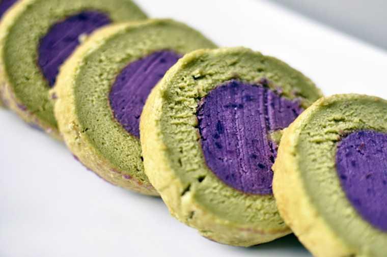 Green tea souffle roll with purple sweet potato paste