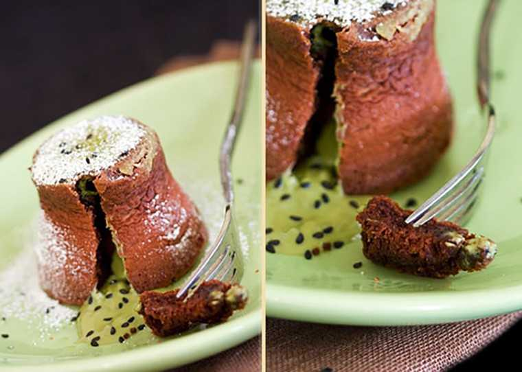 Chocolate lava cake with green tea and black sesame filling
