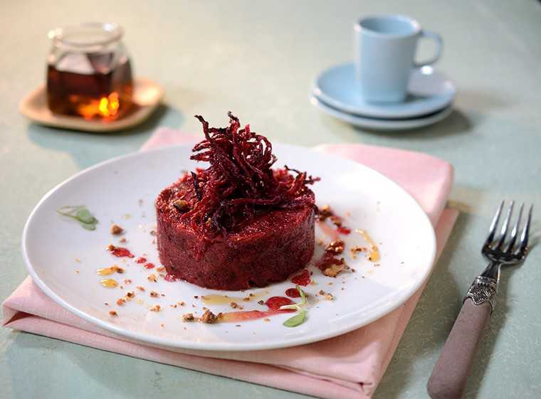 Beet-maple-semolina halwa with raisins