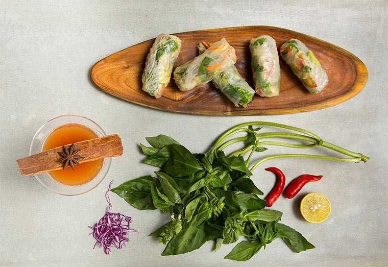 Pondicherry rice paper rolls