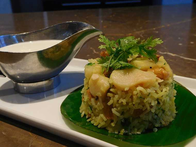 Water chestnut, paneer and sama rice pulav