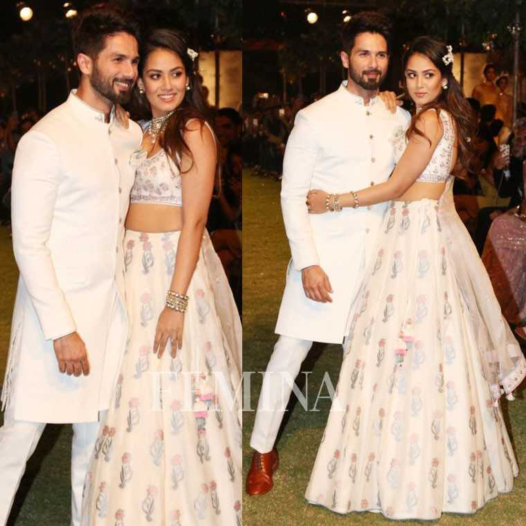 Shaid Kapoor and Mira Rajput Kapoor in Anita Dongre