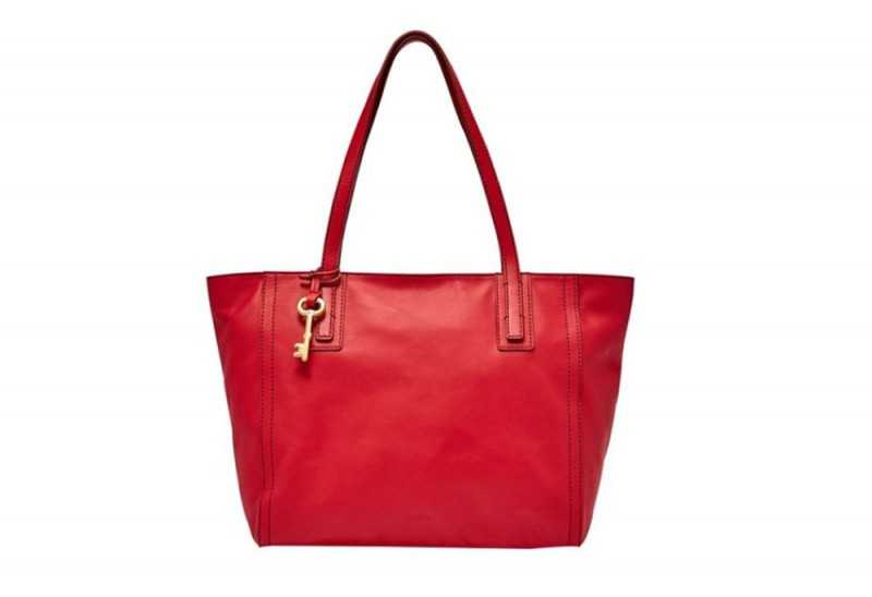 Fossil Emma Crimson Red Solid Leather Tote