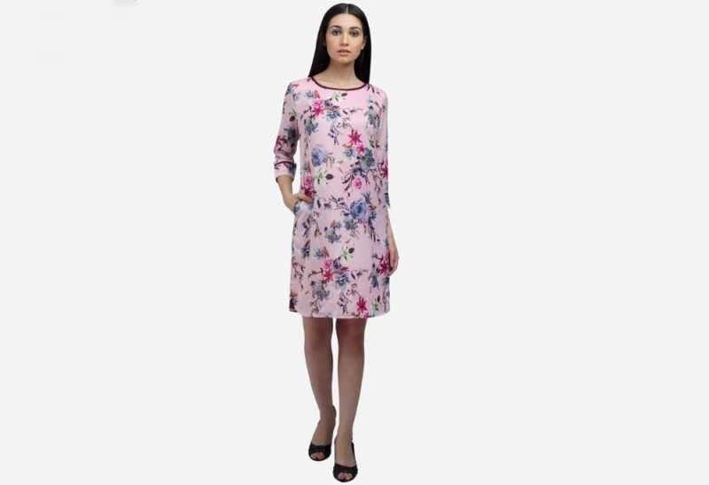 Cotton floral boat neck shift dress