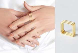 GOLD MATTE TRI SQUARE RING