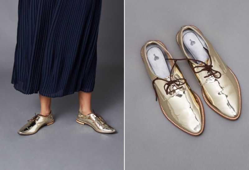 CHAMPAGNE PATENT POINTED BROGUES
