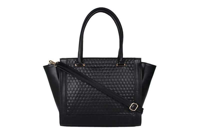 Embossed Trapeze Handbag - Black