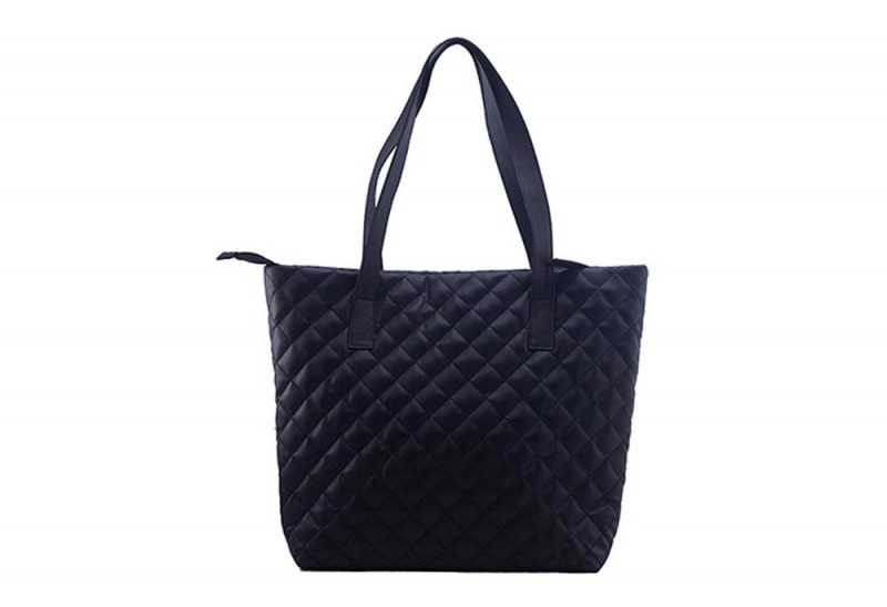 Matte Black Quilted Tote