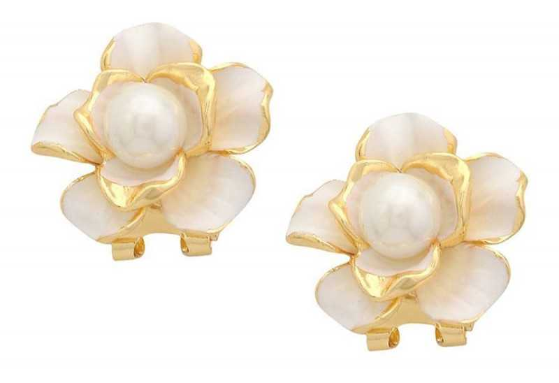 Tipsyfly White Alloy Tea Party Stud Earrings