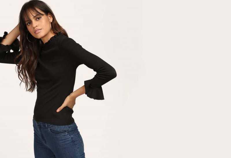 Black Arlene Bell Sleeve Top