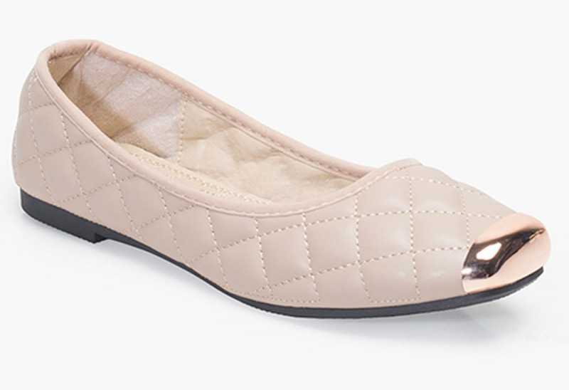Metal-Toe Quilted Ballerinas - Beige