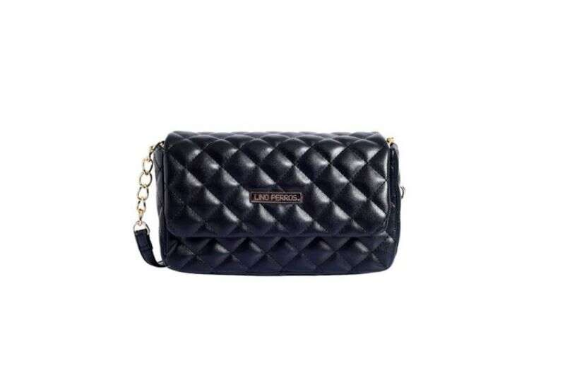 Lino Perros Black Quilted Flap Sling Bag