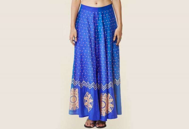 Global Desi Blue Printed Skirt
