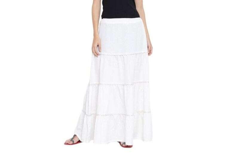 9rasa White Flaired Fit Flex Viscose Skirt