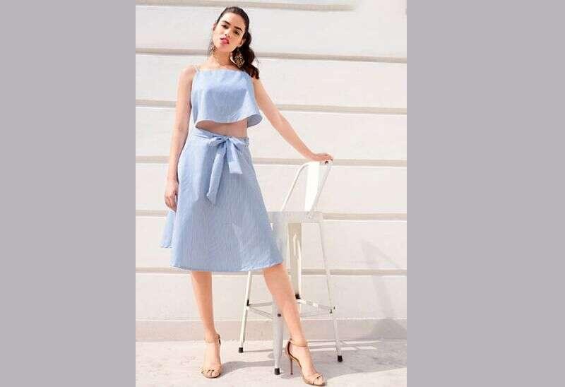 Blue Striped Belted Midi Skirt
