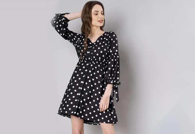 Black Polka Balloon Sleeve Skater Dress