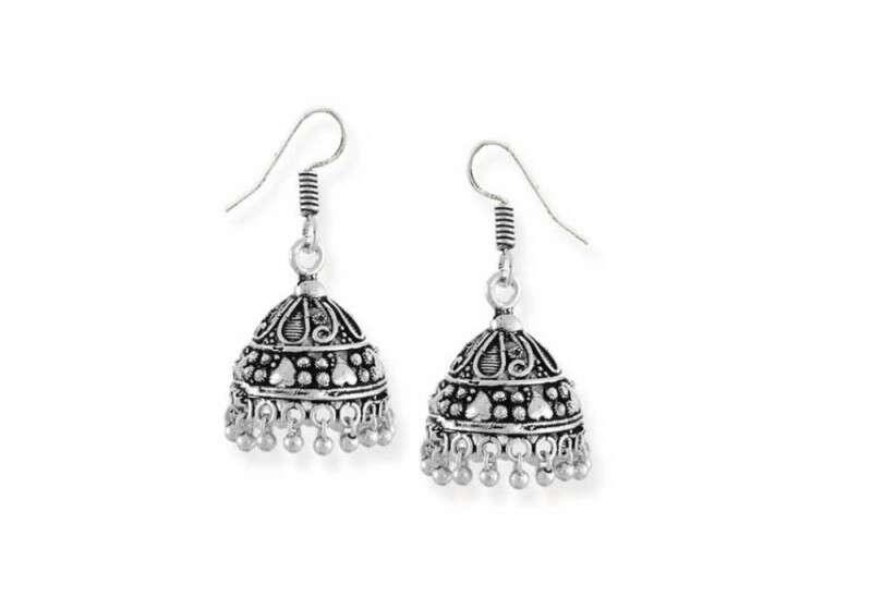 Zaveri Pearls Dome Silver Alloy Jhumki Earrings