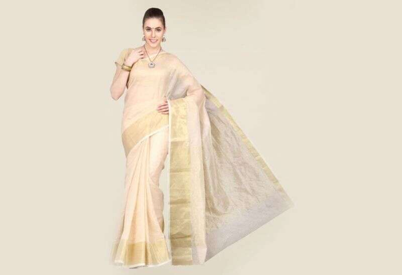 Pavecha's Beige Banarasi Cotton Silk Saree