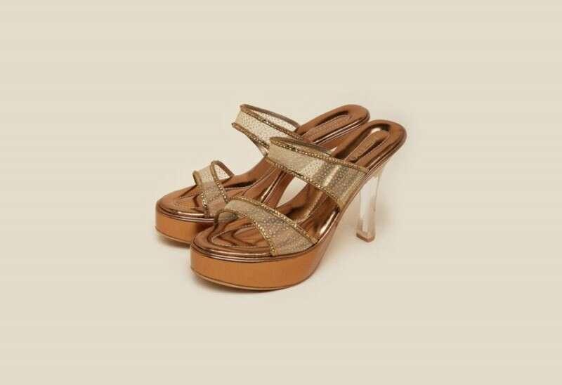 Metro Gold Glass Stiletto Heels
