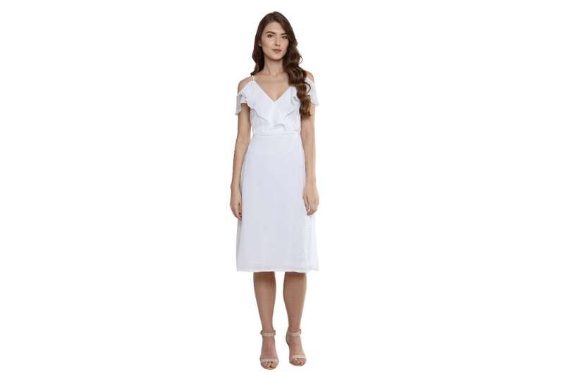 Miss Chase White Slim Fit Knee Length Dress