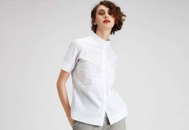 WHITE COTTON PLEATED SHIRT