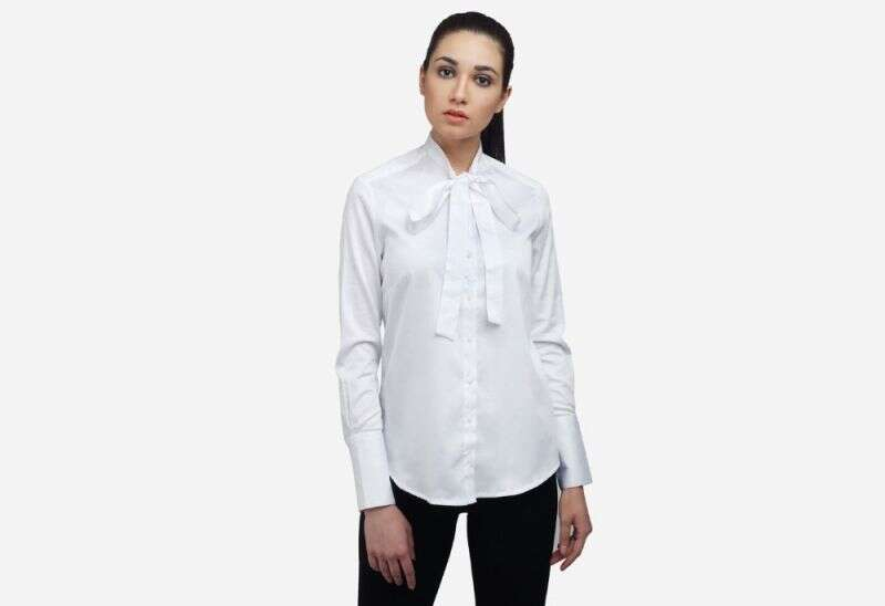 White Cotton Bow Tie Shirt