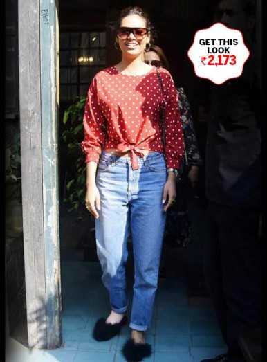 Esha Gupta shapes her look with polka dots. Get it right here.