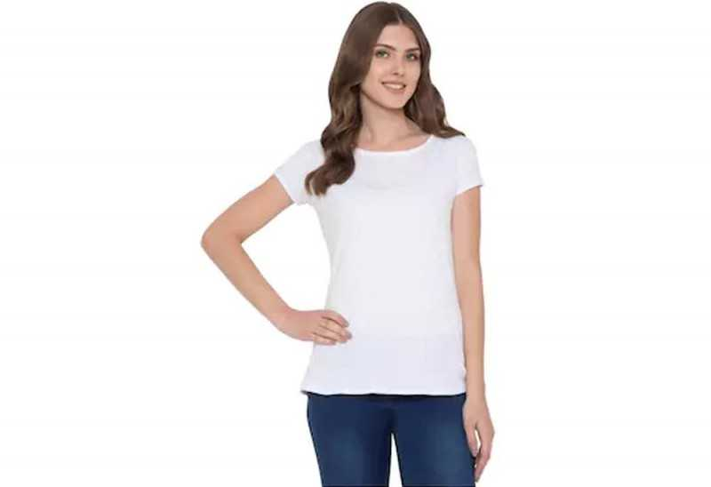 American-Elm Women White Solid Round Neck Cap Sleeve T-Shirt